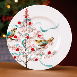 Simply Fine Lenox Chirp Seasonal Salad Plate - These are the perfect Christmas dishes. Their retro feel and color scheme are a new twist on the holiday.