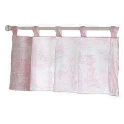 Sweet Jojo Designs - Pink Toile Window Valance - The Pink French Toile window valance will help complete the look of your Sweet Jojo Designs room. This valance softens the look of the window and obscures pulled up blinds. It will coordinate nicely with your Sweet Jojo Designs bedding or can be used as an accent with your own room design.