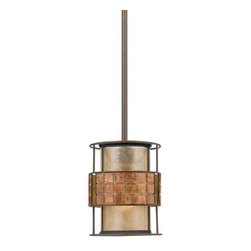 Quoizel Lighting - Laguna Mica Mini-Pendant with Mosaic Tile Band - MC842PRC - Arts and crafts / craftsman renaissance copper 1-light mini-pendant light. Includes two 6-inch and two 12-inch downrods. The height is adjustable to hang a minimum of 16-inches to a maximum of 46-inches in length. Takes (1) 60-watt incandescent A19 bulb(s). Bulb(s) sold separately. ETL listed. Dry location rated.