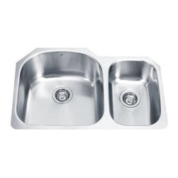 Vigo Industries - 70/30 Left Double Bowl Stainless Steel Undermount Kitchen Sink - 15 degree radius corners, satin finish and seamless construction make this stylish 18 gauge stainless steel sink the perfect addition to your kitchen decor.