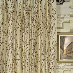 Neutral Trendy Embroidered Plants Back Tab Dupioni Silk Curtains - Really nice embroidered dupioni silk curtain drapery! Offered in several two-toned looks to complement your chosen hues at home, these embroidered dupioni curtains feature a mellow sheen look.