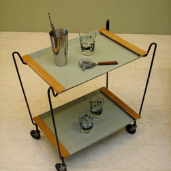Vintage English Bar Cart or Tea Service - Mid century modern bar car. Vintage decor for entertaining, display or storage. Retro style. Mint green and black. Removeable serving trays and collaplsable cart for easy storage