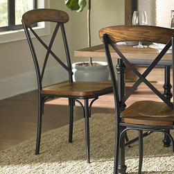 Homelegance - Homelegance Millwood Side Chair w/ Metal Frame - With a look that blends the transitional design element of wood and accenting that lends to a modern traditional aesthetic, the Millwood Collection will help to create the ambiance that you are looking to achieve in your dining room. The decorative metal base of the table provides an elegant, yet, casual contrast to the distressed ash veneer tabletop. Metal framing provides support for the wood seat and backs of the flanking chairs. - 5099S.  Product features: Millwood Collection; Transitional Style; X-Back Design; Metal Frame. Product includes: Side Chair (1). Side Chair w/ Metal Frame belongs to Millwood Collection by Homelegance.