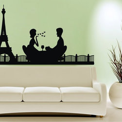 StickONmania - Romantic Paris Sticker - Enjoy a romantic Paris scene on your wall. Decorate your home with original vinyl decals made to order in our shop located in the USA. We only use the best equipment and materials to guarantee the everlasting quality of each vinyl sticker. Our original wall art design stickers are easy to apply on most flat surfaces, including slightly textured walls, windows, mirrors, or any smooth surface. Some wall decals may come in multiple pieces due to the size of the design, different sizes of most of our vinyl stickers are available, please message us for a quote. Interior wall decor stickers come with a MATTE finish that is easier to remove from painted surfaces but Exterior stickers for cars,  bathrooms and refrigerators come with a stickier GLOSSY finish that can also be used for exterior purposes. We DO NOT recommend using glossy finish stickers on walls. All of our Vinyl wall decals are removable but not re-positionable, simply peel and stick, no glue or chemicals needed. Our decals always come with instructions and if you order from Houzz we will always add a small thank you gift.