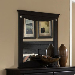 Standard Furniture - Panel Mirror in Dark Pecan - Carlsbad - Refined lineage and interesting detail throughout reveal a dynamic straight forward design. Round ornaments in a simulated brushed nickel color finish. French dovetail construction throughout enhances durability. Beautiful Dark Pecan finish with a rubbed-though appearance. Quality wood products bonded together create durable construction throughout. Top drawers are felt lined to protect delicate items. 38 in. L x 40 in. H (39 lbs.)Carlsbad features a modern style through a blend of clean lines and simple adornments.
