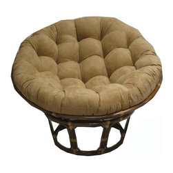 International Caravan - 43 in. Rattan Papasan Chair with Micro Suede Cushion in Beige (MicroSuede Chocol - Color: MicroSuede Chocolate. Comes with base, frame and a cushion. Cushions are made of environmentally friendly poly fill and are custom made. Frame is 43 in. in diameter