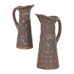 Howard Elliott - Antique Gray Ceramic Pitchers - This set of 2 ceramic pitchers feature a subtle honeycomb pattern and are finished in a antique gray glaze. Set of 2.