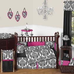Sweet Jojo Designs - Isabella Hot Pink, Black and White 9-Piece Baby Crib Bedding Set by Sweet Jojo D - The  baby bedding by Sweet Jojo Designs includes: comforter, bumper, dust ruffle, fitted sheet, toy bag, pillow, diaper stacker and 2 window valances.