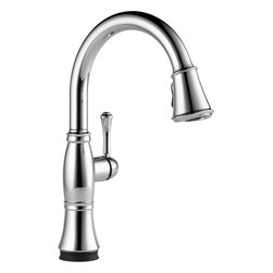 "Delta - Delta 9197T-DST Cassidy Single-Handle Pull-Down Faucet with Touch2O (Chrome) - Delta 9197T-DST Cassidy Single-Handle Pull-Down Kitchen Faucet with Touch2O (Chrome). The Delta 9197T-DST is part of the Cassidy Series. This beautiful kitchen faucet features a Touch-Clean Two-Function wand spout, a 62"" braided hose for smooth operation, and a lever handle for precise volume and temperature control. It comes with 32"" Innoflex supply lines with 3/8"" compression fittings, a 1.8 GPM flow rate, and a 9-3/8"" long, 15-1/2"" tall spout. It also features Delta's Touch2O technology that allows you to turn your faucet on and off with just the brush of a finger. This model comes in a bright, Chrome finish."