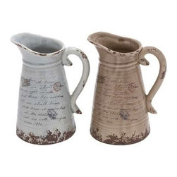 """Benzara - Ceramic Pitcher with Strong Built and Intricate Aesthetic Detailing - Ceramic Pitcher with Strong Built and Intricate Aesthetic Detailing. Bring home this charming and ethnic ceramic pitcher. It comes with a dimension of 7""""W x 6""""D x 10""""H. Some assembly may be required."""