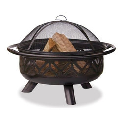 Uniflame - Uniflame Black Wood Outdoor Firebowl With Geometric Design - Black Wood Outdoor Firebowl With Geometric Design by Uniflame       Easy loading and tending     Easy Lift Spark Arrestor     Steel grate improves air flow     Design provides more heat and atmosphere     Easy assembly