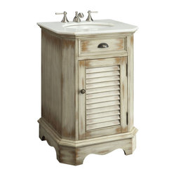 Benton Collection - 24-Inch Junior Abbeville Bathroom Sink Vanity - The plantation-inspired look of this cottage-style sink cabinet will add casual elegance to any bathroom decor. With shutter-style doors and faux finish, this bathroom vanity offers a look that will create a relaxing retreat in any home.
