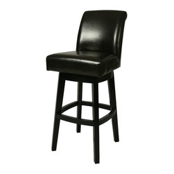 """Pastel Furniture - Lake Village Swivel Barstool - The Lake Village barstool brings traditional comfort with clean and elegant style. This swivel barstool features a quality wood frame with sturdy legs and foot rest finished in Feher Black. The padded seat is upholstered in Black Leather offering comfort and style. Available in 26"""" counter or 30"""" bar height. Assembled dimensions for this barstool: 43.75H x 17.5W x 23.125D"""