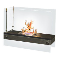Moda Flame - Moda Flame Palermo H Indoor Outdoor Firepit Bio Ethanol Fireplace Black - Palermo's contemporary limited edition H form fireplace, it is sure to catch the eyes of anyone. The limited edition Palermo fireplace is defined by two supporting tempered glasses, which encase a floating fire with a stainless steel base and black top. Palermo gives off a soft and settle atmosphere with a nice view of the flame from any angle.