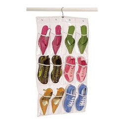 Richards Homewares - Richards Homewares Clear Vinyl 12 Pocket Shoe Caddy with Hanger - * Made of clear vinyl to neatly store and view your shoes