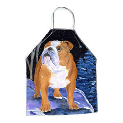 Caroline's Treasures - Starry Night English Bulldog Apron SS8405APRON - Apron, Bib Style, 27 in H x 31 in W; 100 percent  Ultra Spun Poly, White, braided nylon tie straps, sewn cloth neckband. These bib style aprons are not just for cooking - they are also great for cleaning, gardening, art projects, and other activities, too!