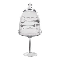 """Home Essentials - Glass Cupcake Stand with Fork & Spoon Decal - Display cupcakes , appetizers and other small party treats with elegant flair. Use our darling cupcake stand to serve special cupcakes, chocolates and cookies in style.    * Dimensions: 6""""D x 13""""H"""