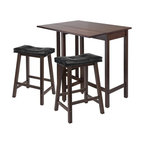 Winsome Wood - Lynnwood 3-Pc Drop Leaf Kitchen Table Set - Includes table and two stools. Black faux leather cushion upholstery. Made from PVC and solid wood. Antique walnut finish. Minimal assembly required. Seat height: 24 in.. Stool: 17.52 in. W x 14.49 in. D x 24.8 in. H. Drop leaf: 39.37 in. L x 10.31 in. W. Minimum: 39.37 in. L x 20.7 in. W x 35.43 in. H. Maximum: 39.37 in. L x 30 in. W x 35.43 in. H