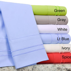 None - Verona Double Merrow Microfiber Sheet Set - Available in six different vivid solid fashion colors,this percale sheet set is conveniently machine washable. The fitted sheet pocket depth is 12 inches and the sheets include at least one pillowcase.