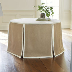 "Ballard Designs - Paneled Party Tablecloth Burlap - 108"" Round - Neutral colors work for any occasion. Fits our Folding Party Table. We've dialed up the style on our best-selling Party Tablecloth with dressy designer details. Rather than a traditional skirt, this natural burlap tablecloth is hand finished with crisply tailored panels defined with cream twill tape trim.Paneled Party Tablecloth:. ."