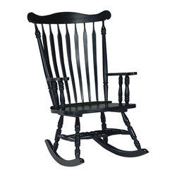 International Concepts - Slat-Back Rocker in Antique Black Finish - Simple and timeless with a vintage inspired design, this old world rocking chair will be a classic addition to any decor. Finished in antique black, the chair has turned legs and an arrow style back and will easily bring to mind lazy summer days on a breezy front porch. Made from Solid Wood. Assembly required. 28 in. W x 36 in. L x 44.50 in. H (36 lbs.)