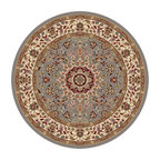 Tayse Rugs - Elegance Blue and Black Round: 7 Ft. 10 In. Rug - - The detailed oriental medallion design of this area rug make a statement of elegance to any room. Soft polypropylene fibers make it soft, warm, and easy to clean. Rich hues of gray-blue, gold, red and ivory. Vacuum and spot clean.  - Square Footage: 61  - Pattern: Oriental  - Pile Height: 0.39-Inch Tayse Rugs - 5396  Blue  8 Round