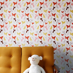 Origami Wallpaper - I love paper cranes, and if this color pattern fit my space better, I'd be all over it.