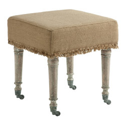 "Kathy Kuo Home - Alfreda French Country 18"" Square Burlap Bleached Wood Ottoman - A size for any room in your home, the Alfreda Ottoman in burlap comes in 3 additional sizes. Finish is achieved through a method of hand bleaching creating subtle variations in color."