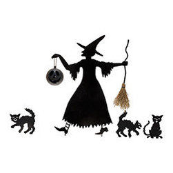 Witch and Cat Entourage - Set of 6 - Light up your yard or make it a little more spooky with this witch and cat entourage. The witch is holding a pumpkin lantern, in which you can place a tealight candle. Note the dimensions. She's tall.