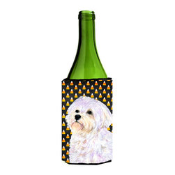 Caroline's Treasures - Maltese Candy Corn Halloween Portrait Wine Bottle Koozie Hugger - Maltese Candy Corn Halloween Portrait Wine Bottle Koozie Hugger Fits 750 ml. wine or other beverage bottles. Fits 24 oz. cans or pint bottles. Great collapsible koozie for large cans of beer, Energy Drinks or large Iced Tea beverages. Great to keep track of your beverage and add a bit of flair to a gathering. Wash the hugger in your washing machine. Design will not come off.