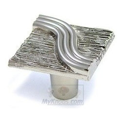 Abstract Designs Decorative Hardware Square Textured Knob in Satin Nickel -