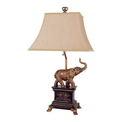 Elephant Lamp - Safari inspired Elephant table lamp in an antiqued finish will make a conversation piece in any room.