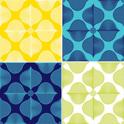 WallPops - Hollywood Blox Wall Decal - What is more fabulous than movie stars? Grab some celebrity glamour withJonathan Adler's Hollywood WallPops!This mod geometric floral pattern channels some iconic American razzle dazzle, bringing captivating blues, lemon, and chartreuse to walls.