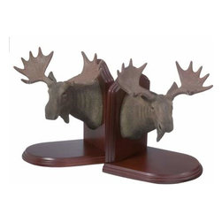 WL - 7 Inch Classic Brown Moose Head with Antlers Wooden Bookends - This gorgeous 7 Inch Classic Brown Moose Head with Antlers Wooden Bookends  has the finest details and highest quality you will find anywhere! 7 Inch Classic Brown Moose Head with Antlers Wooden Bookends  is truly remarkable.