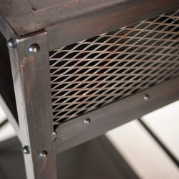Real Industrial Edge Furniture llc - Modern Industrial night stand, side table, nightstand - This is a closeup of an industrial end table with a laptop shelf