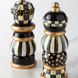 """MacKenzie-Childs - Courtly Check Salt & Pepper Mill Set - MacKenzie-ChildsCourtly Check Salt & Pepper Mill SetDetailsHandcrafted of solid beechwood with ceramic gears.Hand painted in MacKenzie-Childs signature designs including Courtly Check .Due to the nature of handcrafting mills may vary.Set of two; each 7""""T.Imported.Designer About MacKenzie-Childs:Established in 1983 MacKenzie-Childs combines vibrant colors and patterns to create a whimsical collection of tableware furniture and decorative accessories that epitomize """"tradition with a twist."""" The company's designers draw inspiration from the pastoral setting of their studios located on a 65-acre former dairy farm in Aurora New York."""