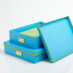 Put A Lid On It Box in Blue - We love organizational tools that double as cute decor. Made from paperboard with a 100% post-consumer recycled core and a neat metal trim, it's ready to keep your papers, to-do project items, and more organized in chic style right out in the open.
