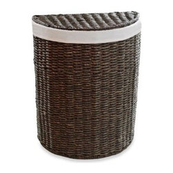 Lamont Ltd. - LaMont Home Chateau Half Moon Hamper - This unique hamper fits snugly against a wall. It's great for tight spaces. Finish is twisted maize stained a coffee color. Includes a natural-toned liner made of a polyester and cotton blend.