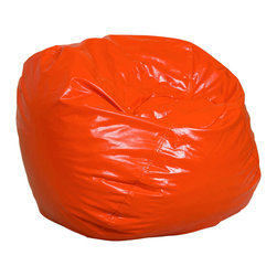 Best Selling Home Decor - Jack and Jill Orange Child size Bean Bag - Comfortable and durable, this child size bean bag chair has a vinyl cover and is filled with a combination of long-lasting polystyrene beans as well as soft and supple foam. They are perfect for kids to sit in a bedroom, home theater rooms, family and game rooms. Complete with an inner bag and a puncture-proof outer vinyl cover that is double-stitched with hidden seams. Color: Various; Materials: Vinyl, polystyrene beans, foam; Weight: 6 pounds; Diameter: 28 inches; Fill: Virgin polystyrene beans and foam; Closure: Double YKK zipper is added for durability and then sealed shut for safety; Cover: Cover is double-stitched along all seams and is not removable; also includes hidden stitching and seams; Puncture proof; Care Instructions: Spot Clean; Dimensions: 20 inches high x 28 inches wide x 28 inches deep; Made in the US; Trademarked; Kid friendly; Separate lining insert is not intended for use without an outer cover.