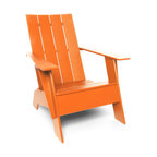 Loll Designs - 4 Slat Flat Standard Adirondack, Sunset Orange - The epitome of coastal relaxation, this lounge chair is so stylish is works on just about any porch, even if you're inland. Slide back, close your eyes and you can almost hear the gulls.