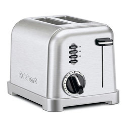 Cuisinart - Cuisinart CPT-160 2 Slice Classic Metal Toaster Multicolor - CPT-160 - Shop for Toasters from Hayneedle.com! The Cuisinart CPT-160 2 Slice Classic Metal Toaster is the perfect toaster for everyday use in any kitchen. This toaster features two-slice capacity and has extra-wide 1.5-inch slots for larger slices of bread or bagels. A six-setting browning control knob high-rise carriage and slide-out crumb tray give you all the convenience of more expensive models at a reasonable price. This toaster also features button controls for reheat defrost and bagel and has LED indicator lights that keep you posted on the status of your toast. Available in a choice of colors. Complete with a limited 3-year manufacturer's warranty.About CuisinartOne of the most recognized names in cookware and kitchen products Cuisinart first became popular when introduced to the public by culinary experts Julia Child and James Beard. In 1973 the Cuisinart food processor revolutionized the way we create fine food and healthy dishes and since that time Cuisinart has continued its path of innovation. Under management by the Conair Corporation since 1989 Cuisinart is a universally celebrated name in kitchens across the globe. With a full-service product line including bakeware blenders coffeemakers cookware countertop appliances kitchen tools and much much more Cuisinart products are preferred by chefs and loved by consumers for durability ease of use superior quality and style.