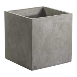 Accent Decor - Newport Square Concrete Planter - The Newport Collection features sleek, industrial designs cast from heavy duty fiberglass with a realistic natural grey concrete finish. The Newport Square Concrete Planter is the perfect compliment to your contemporary indoor houseplant or outdoor landscaping. Use solo or in multiples for a clean but dramatic plant display. The Newport Square Concrete Planter does not have a drain hole, so it is ideal for indoor applications (we recommend using a liner).  Or drill a drain hole for outdoor applications. The Newport Square Concrete Planter is available in 16-inch or 20-inch widths.  When not used as a planter, the Newport Square can be flipped upside down and used as a cube seat, side table, or plant stand.