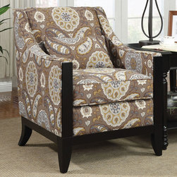 Coaster - 902091 Accent Chair - This stylish patterned accent chair is perfect for any room. Featuring a decorative wood trim on the front, wood legs and a matching lumbar pillow.