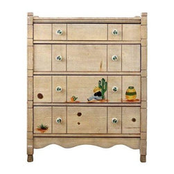 Pre-owned Vintage 1940s Monterey Style Dresser - This vintage 1940s dresser in the Monterey style is by L. Ronney and Sons. Four drawer wooden dresser with a beige faux wood finish. The frame of the dresser has notches and the side posts continue up a little from the top of the dresser. Southwestern scenes are painted on the front featuring a cactus, pottery, and a sleeping boy. The ceramic drawer pulls have little painted southwestern swirls on them. There is light general wear to the wood and finish.