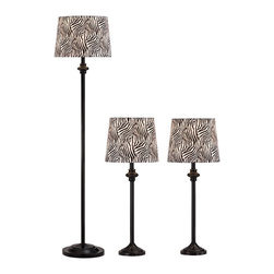 """Lamps Plus - Contemporary Griffith Black Zebra Table Lamps and Floor Lamp Set of 3 - These three lamps will create a fantastic look in your home. Two table lamps and one floor lamp with slender bases finished in black are topped with cool zebra stripe pattern shades. Arrange in one room or spread the chic style around your home. Set of 3 includes two table lamps and one floor lamp. Bronze finish metal construction. Beige shades. Table lamps are 28"""" high. Floor lamp is 56"""" high. All take one maximum 150 watt bulb (not included). Table lamp shades are 9"""" across the top 11"""" across the bottom and 9"""" on the slant. Floor lamp shade is 11"""" across the top 13"""" across the bottom and 9"""" on the slant.  Set of 3 includes two table lamps and one floor lamp.   Bronze finish metal construction.   Beige shades.   Table lamps are 28"""" high.   Floor lamp is 56"""" high.   All take one maximum 150 watt bulb (not included).    Table lamp shades are 9"""" across the top 11"""" across the bottom and 9"""" on the slant.   Floor lamp shade is 11"""" across the top 13"""" across the bottom and 9"""" on the slant."""