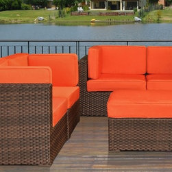 """Lamps Plus - Contemporary Atlantic Nice Conversation Orange Outdoor Seating Set - Dark brown wicker finish. Cushion color is orange. Atlantic collection. Aluminum and Synthetic Wicker frame. 5 individual pieces. Great functionality. No assembly required. 1 year warranty. Includes 4 corner and 1 ottoman. Corner with cushions dimension is 32"""" wide 32"""" deep 27"""" high. Ottomans with cushions dimension is 28"""" wide 28"""" deep 13"""" high.  Dark brown wicker finish.  Cushion color is orange.  Cushions are included.  Aluminum and Synthetic Wicker frame.  5 individual pieces.  Great functionality.  No assembly required.  1 year warranty.  Includes 4 corner and 1 ottoman.  Corner with cushions dimension is 32"""" wide 32"""" deep 27"""" high.  Ottomans with cushions dimension is 28"""" wide 28"""" deep 13"""" high."""