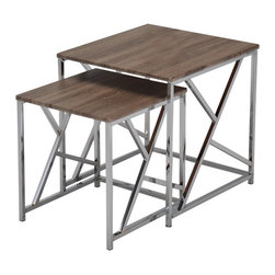 None - Reclaimed Wood Chrome Side End Nesting Tables (Set of 2) - This set of two Reclaimed Wood and Chrome Nesting Tables can be used as end tables, lamp tables, decorative displays tables, or simply accent pieces. These nesting tables also feature an abstract design on the sides.
