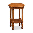 Leick Furniture - Favorite Finds Round Fluted End Table - 1 Shelf. Turned, fluted legs. Solid hardwoods. Minimal assembly required. 16.5 in. W x 16.5 in. D x 25 in. HRound, compact, solid wood and finished in rich, neutral tones you ll never find a more versatile table solution for your home.