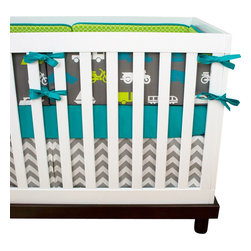"Modified Tot - Baby Bedding Crib Set, Vroom Vroom! - He is sure to love these transportation vehicles in bright turquoise and lime on gray. The three piece set includes bumpers with hand-stitched fabric ties and contrasting piping, a fitted sheet with elastic all the way around and a four-sided skirt with a 15"" drop. Bumpers are created in six separate pieces for easy transition to a toddler bed, they measure 1"" thick and 10"" high. All items are proudly made in the USA. All products are made to order."