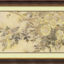 Amanti Art - Le Jardin Volire Framed Print by Kris - Let golden roses adorn your wall in this charming floral study of Volires Garden by contemporary painter Kris.